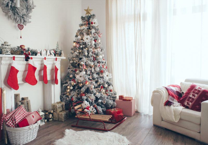 Living room with Christmas tree and Christmas decorations