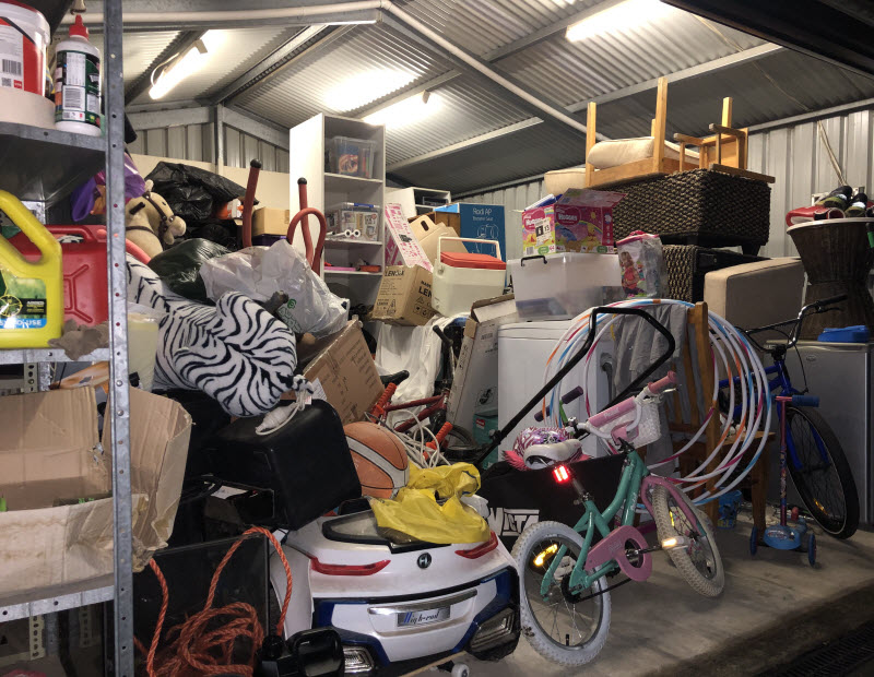 Old toys and household stuffs inside a garage