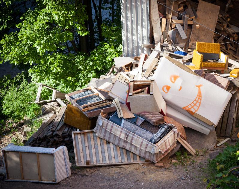 Pile of broken household junks