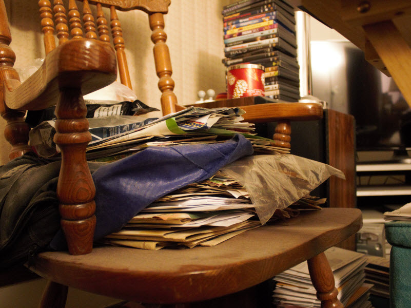 Pile of documents placed in a chair