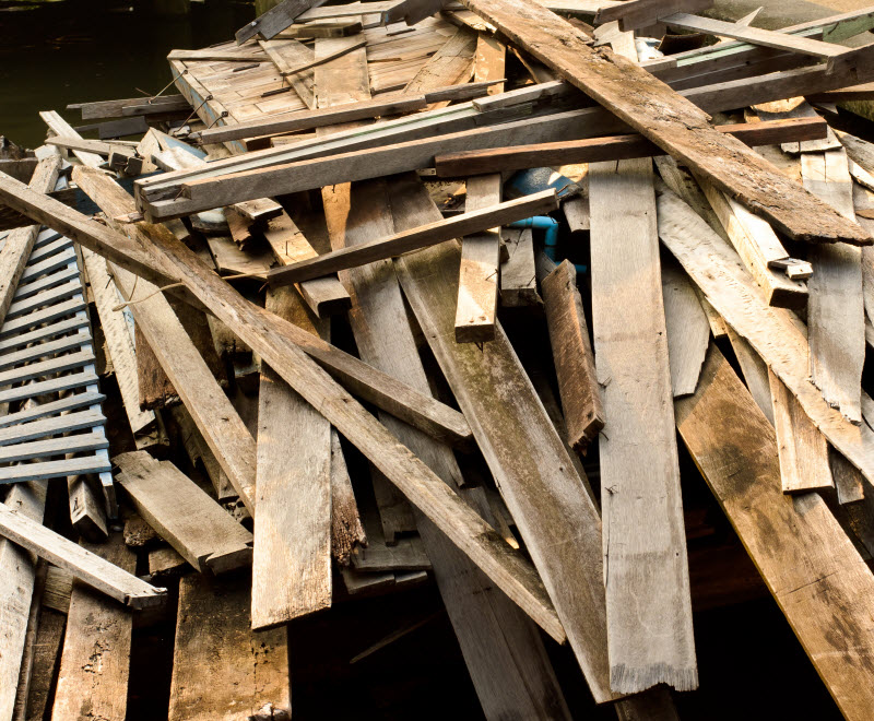 Pile of old wood from house building
