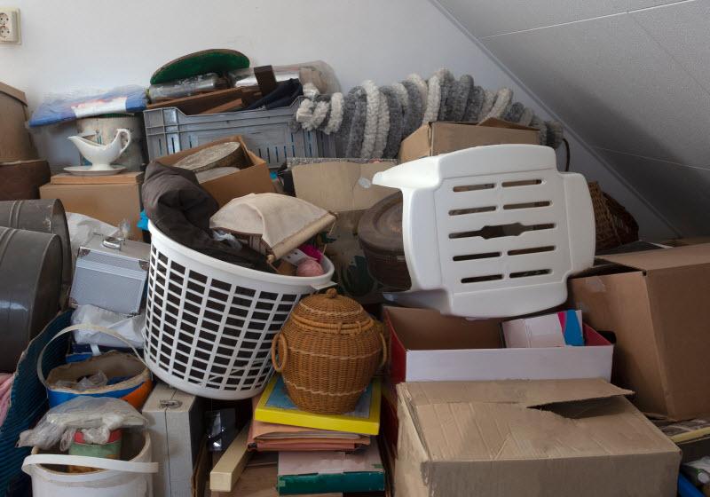 Pile of junks inside a room