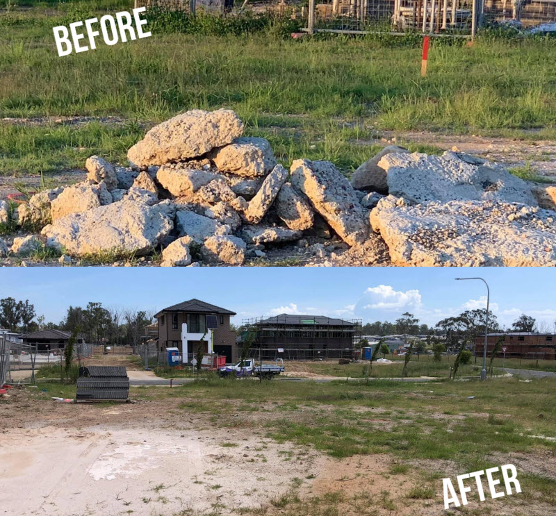 Before and after of a cleaned open lot