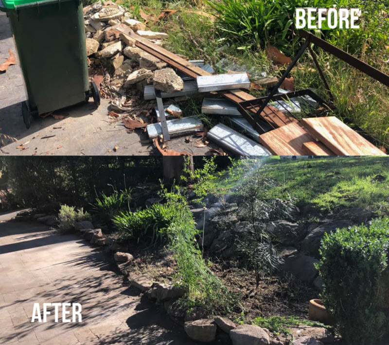 Before and after cleaning of a backyard