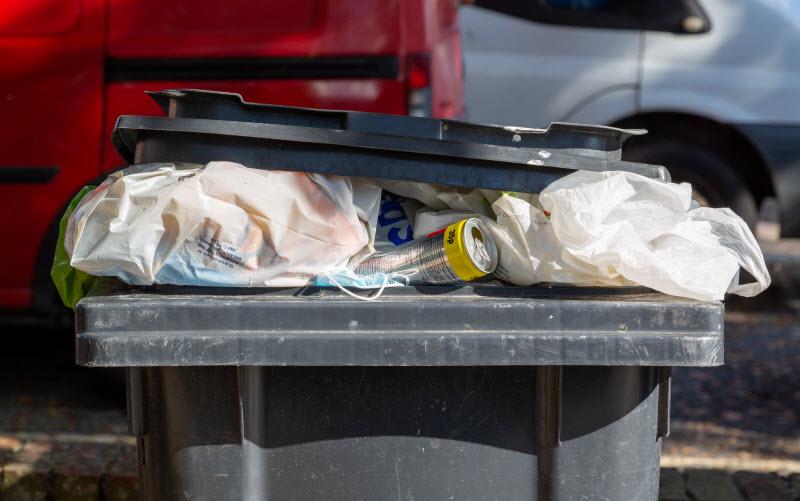 Waste placed inside a waste bin