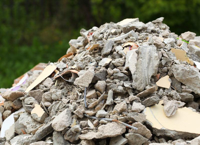 Broken debris from constructions site