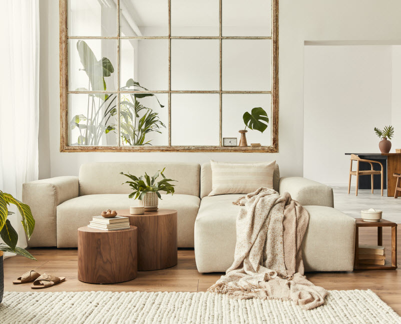 Cozy white and brown themed living room