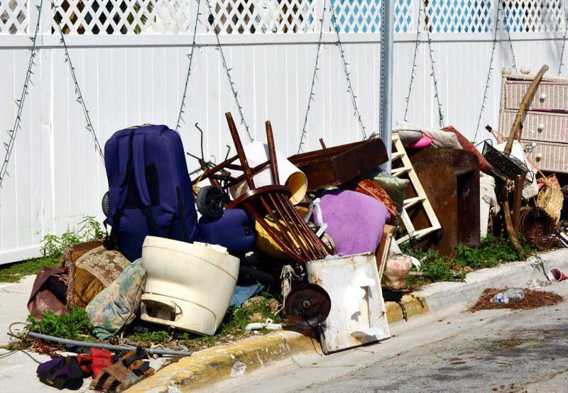 Pile of household things at the sidewalk